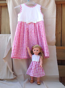 Doll's Dress & Matching Size 6X Girl's in Pink &White Gingham