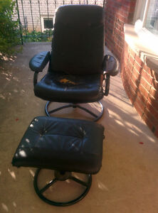 Chair with foot rest, desk and end table