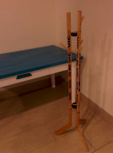 Hockey Stick coat and hat rack. For Junior hockey player or fan