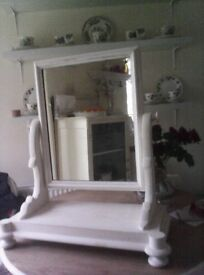 Vintage Wooden Dressing Table Top Mirror Shabby Chic Style