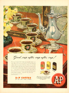 1947 full-page (10 1/4x 14) color magazine ad for A&P Coffee