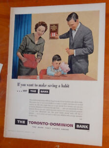 COOL 1957 TORONTO DOMINION BANK VINTAGE AD / ANONCE TD