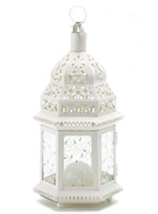 Beautiful white Moroccan lamps with etched glass!