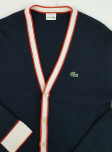 LACOSTE Mens V-Neck Knit Button Up Cardigan Sweater Size 5 Med