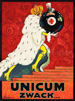Herbal Liqueur Unicum Vintage Hungary Liquor Poster Giclee Canvas Print 20x27