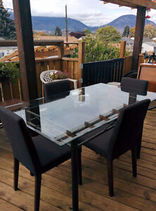 Metal Table with Glass Top - 4 Chairs Included