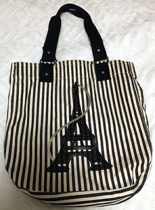 Eiffel Tower Paris Cloth Sequined Tote Bag Like New