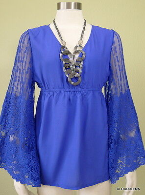 Nwt Solitaire L  M  Free Spirit Lace Bell Sleeves Gypsy People Boho Top