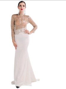 Gold and White Royal Luxury Mesh Gown
