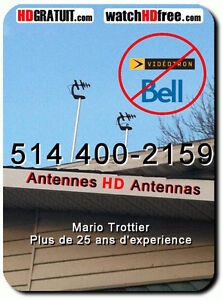 OUTDOOR OFF AIR DIGITAL HDTV ANTENNA SALES MONTREAL 514 400-2159