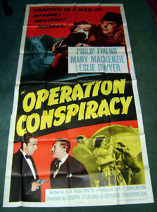 Rare 1957 Operation Conspiracy large 3 Sheet movie poster 81x27