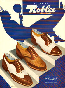 1946 large (10 ¼ x 14) color magazine ad for Roblee Shoes
