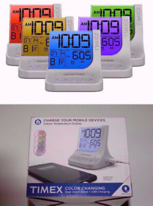 Timex Color Changing Alarm Clock timer with USB Port new box