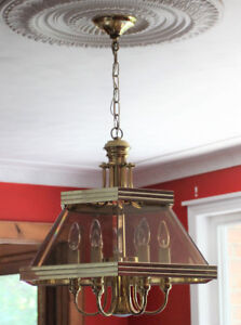 SET of Vintage Brass and Glass Candlestick Light Fixtures