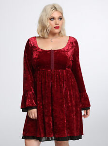 NEW Hot Topic Burgundy Panne Velvet Gothic Bell Sleeve Dress