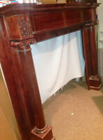 fireplace mantle antique  foyer