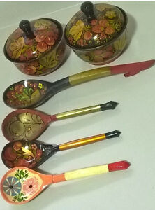 Russian Folk Art Khokhloma Lacquer Hand Painted Wooden Bowls