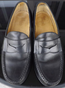 ALLEN EDMONDS CAMERON Mens Black Penny Leather Loafers Size 7EEE