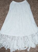 Long Crocheted Lace Skirt in White. Brand New