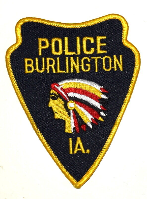 BURLINGTON IOWA IA Sheriff Police Patch ARROW SHAPE INDIAN NATIVE AMERICAN ~