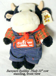 """Plush Cow, 10"""" tall, moving arms/ legs, clothes, new, tag"""