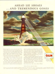 1946 full-page magazine ad for Olin Industries, lighthouse