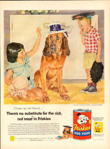 Large (10 ¼ x 14 ) 1956 full page ad for Friskies Dog Food