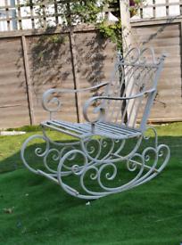 Garden wrought iron rocking chair