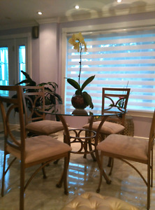 Gold brass finished dining room set of 5