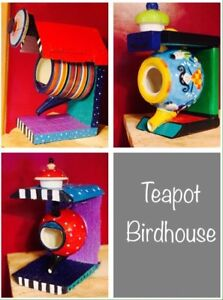 Teapot Birdhouse x3 Colourful fun gift for Mother's Day / Easter