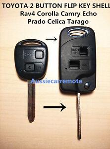 TOYOTA 2 BUTTON FLIP KEY SHELL CASE -Rav4 Corolla Camry Echo Prado Celica Tarago