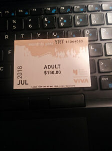Selling YRT Adult July Pass for $95