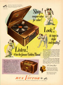 1947 original full-page, color print ad for RCA Victrola 65U