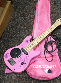 Pink Play On Guitar
