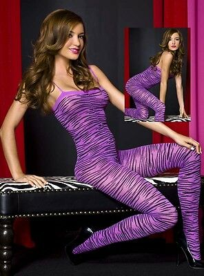 Crotchless ANIMAL/TIGER/ZEBRA PRINT Bodystocking w/ Straps - PURPLE/BLACK - Purple Zebra Print