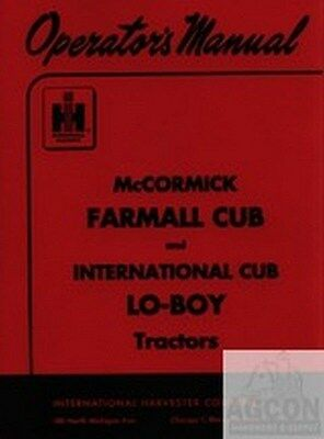 International Farmall Mccormick Cub Lo-boy Loboy Tractor Owner Operators Manual