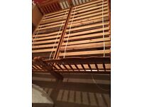 2 wooden single bed with 2 single mattresses