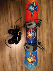 Kids snow board and size 2 boots