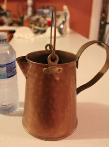 Vintage Items: Copper Pitcher, Glass Carrie, Prinknash, Andirons