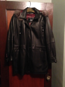 Soft Leather Coat - Size Medium (with Removable Liner and Hood)