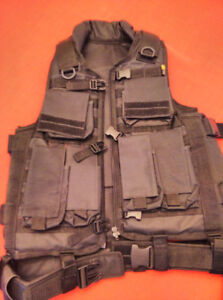 Black Tactical Vest and Leg Holsters (Cordura Brand)