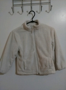 White Kids Zip Up Fleece Sweater