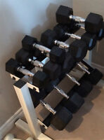 Rubber Dumbbell Set with 2-Tier Dumbbell Rack