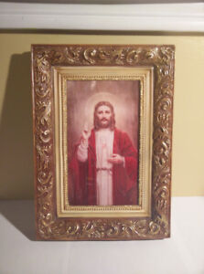 Hand Painted Jesus Christ Frame and Picture with LED