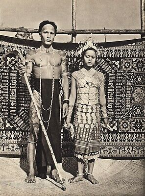 1940 Vintage BORNEO WEDDING Iban Man & Woman Costume Fashion Jewelry ~ K.F. WONG