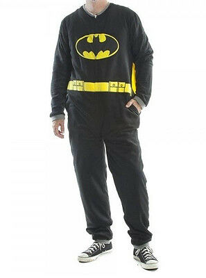 Adult Mens Batman Fleece Pajamas Union Suit w/ Cape S-XL One Piece - Batman Pajamas Adults