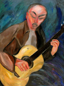 Original Large Oil Painting of Man Playing Spanish Guitar