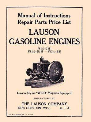 Lauson W 1 12 2 Hp Wa 2 12 3 12 Wb 3 12 6 Hp Engine Operators Parts Manual