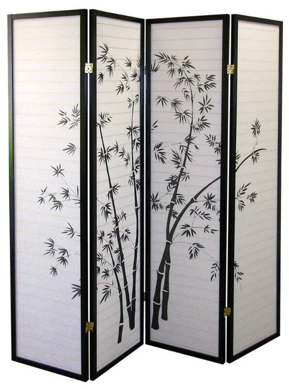 Japanese 4 Panel Bamboo Screen Room Divider Home Dcor Accents