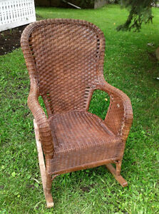 Vintage Wicker Porch Rocker with seat cushion
